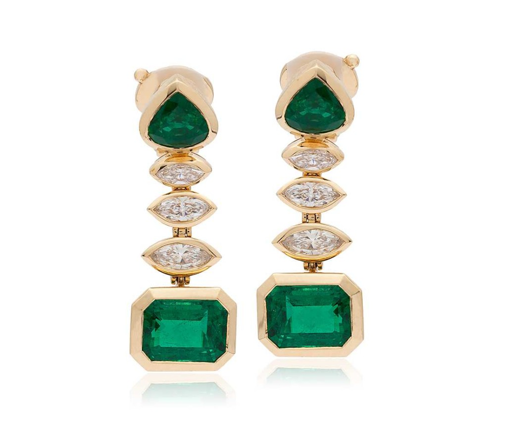 Estate Emerald and Diamond Statement Earrings in 18k Yellow Gold (8.89 ct. tw.)