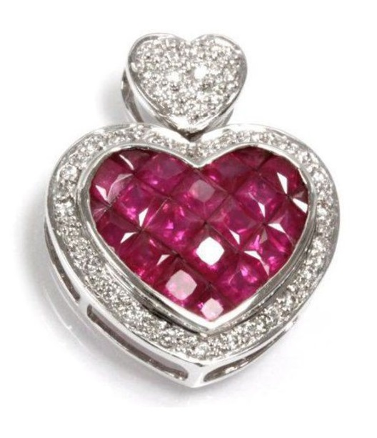 3.13 cttw 14k White Gold Ruby Diamond Heart Pendant With Chain Necklace 18""