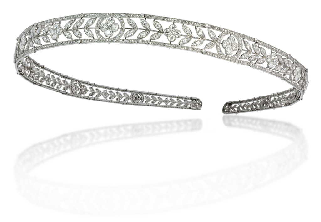 Platinum and Diamond Belle Epoque Bandeau/Headband by Boucheron, Paris, circa 1910.