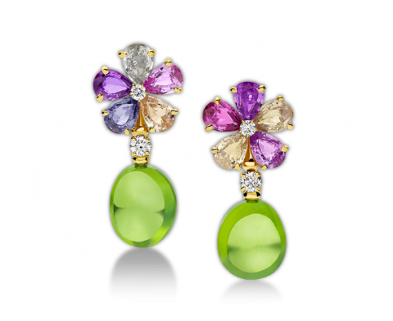 Sapphire Flower 18 kt yellow gold earrings with fancy sapphires, peridots, diamonds and pavé diamonds.