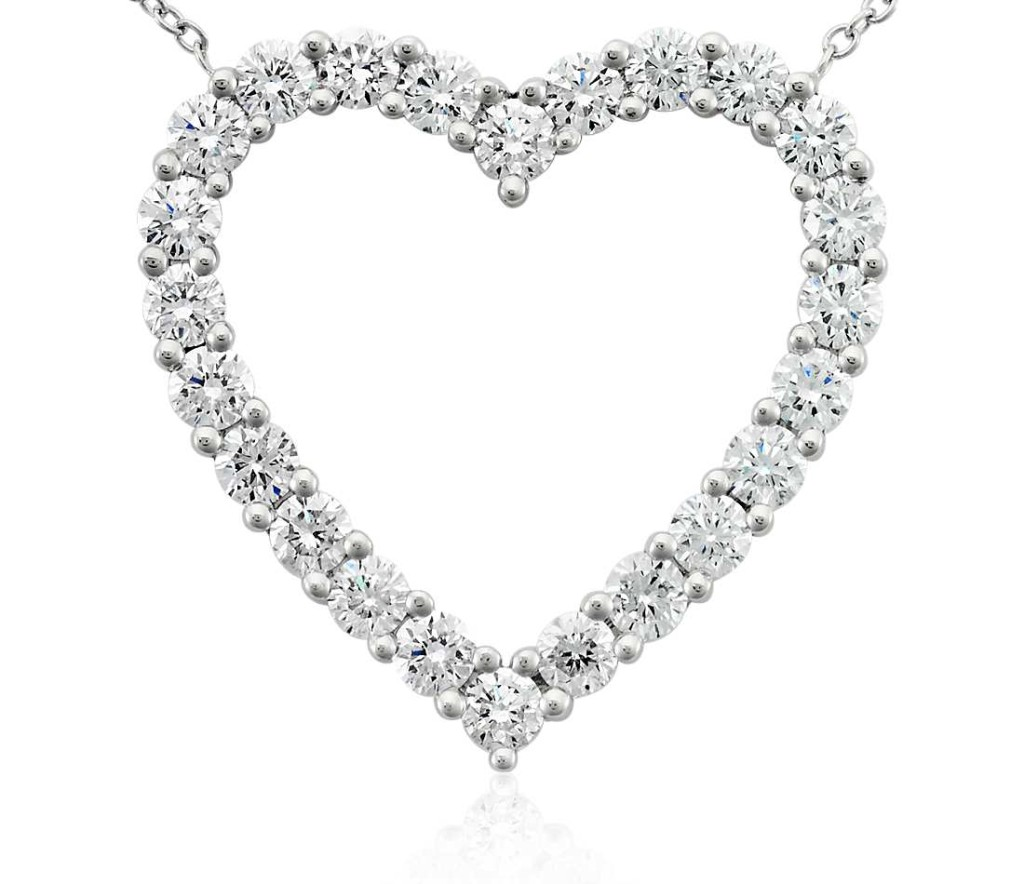 Diamond Heart Pendant in Platinum (2 ct. tw.) Twenty-four brilliant round diamonds, prong-set in platinum, form the shape of a heart. This radiant, romantic piece is suspended from a 19 inch platinum cable link chain with a lobster claw clasp.
