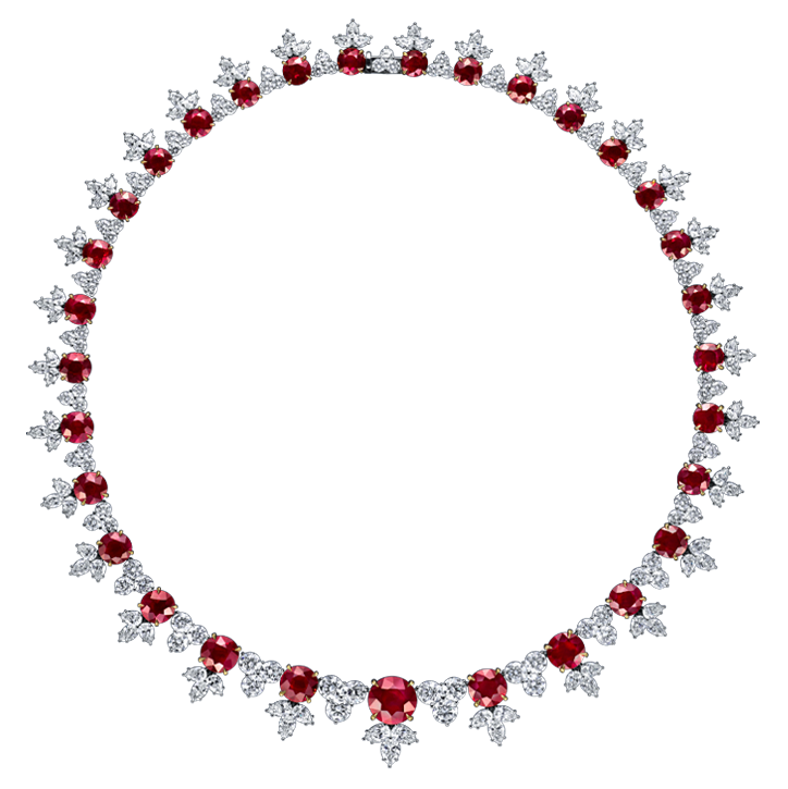 Ruby and Diamond Cluster Necklace