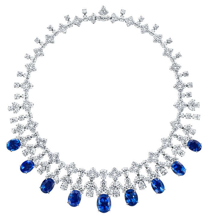 Cascading Sapphire and Diamond Drop Necklace