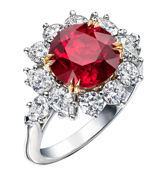 Round Brilliant Ruby and Diamond Ring