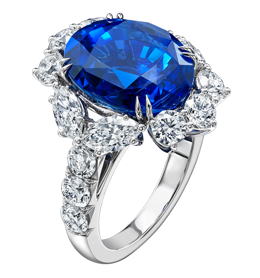 CLICK TO ENLARGE IMAGE Oval Sapphire and Diamond Ring