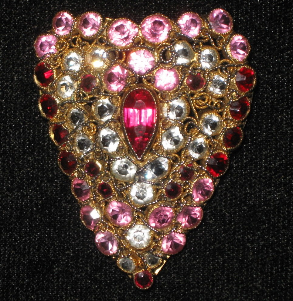 "Vintage 1930's ""old"" Hobe' heart shaped pin / brooch with brilliantly cut clear, pink and red stones."