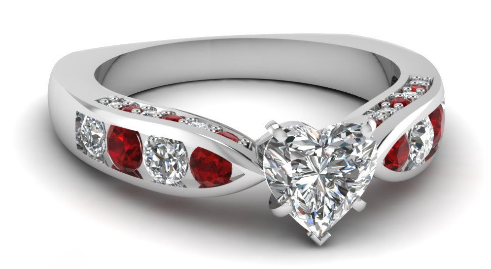 1.70 Ct Heart Shaped Diamond & Round Ruby Engagement Ring For Women White Gold