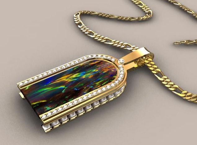 Greek Pillar Black Opal Pendant