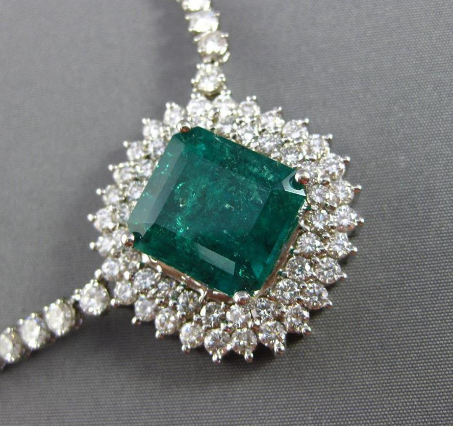 Gorgeous Estate 23.81 Ct Colombian Emerald and Diamond Necklace. 12.81 Ct Colombian Emerald.