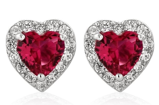 2.32 Ct Heart Shape Red Zirconia 925 Sterling Silver Earrings by Gem Stone King