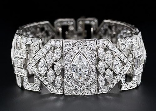 Platinum Diamond Art Deco Bracelet
