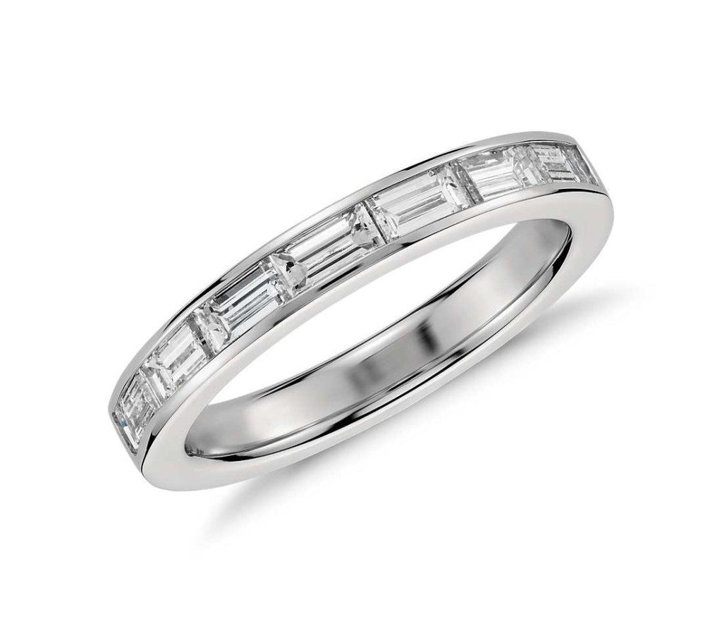 Channel Set Baguette Diamond Ring in Platinum Brilliance refined, this classic diamond ring features baguette cut diamonds that are expertly matched and channel set