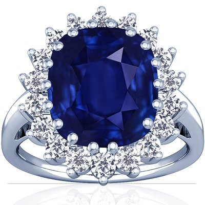 This classical design popularized by Princess Diana is the latest fashion statement and the ultimate gift. It comes with 0.72cttw diamonds rounds surrounding a 9.27ct. center rare untreated blue sapphire cushion. The Sapphire has intense blue color, FL eye clarity and excellent brilliance.