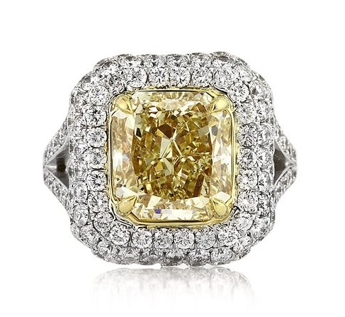 Mark Broumand 6.17ct Fancy Light Yellow Radiant Cut Diamond Engagement Ring