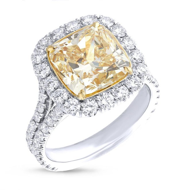 5.01ct Cushion Cut Center and 1.42ct Side 18k Two-tone Gold GIA Certified Natural Yellow Diamond Ring