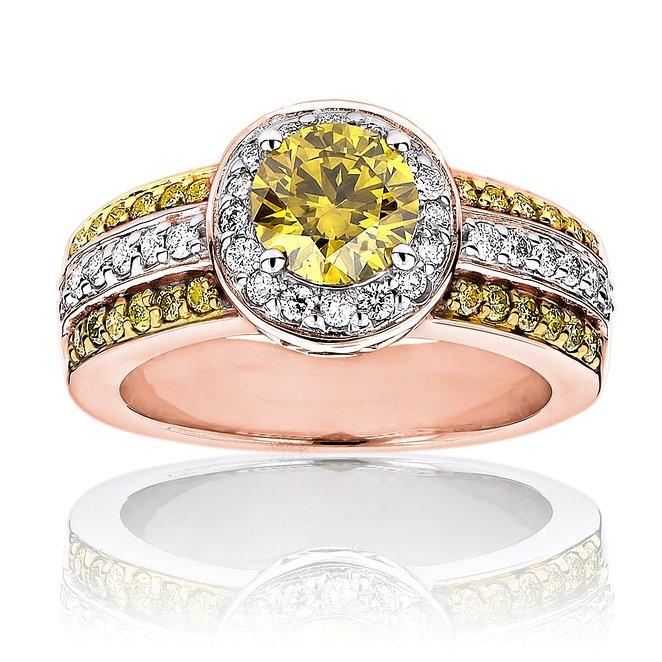 Luxurman Unique White Yellow Diamond Engagement Ring Halo Design 14k Gold 1.6 Ct.
