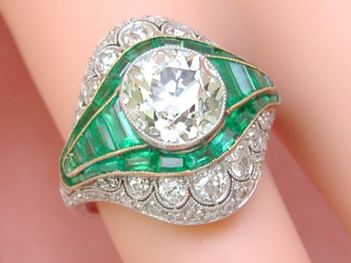 Estate Art Deco 3 Ct Old MIne Diamond 1.7 ctw Emerald Platinum Cocktail Ring
