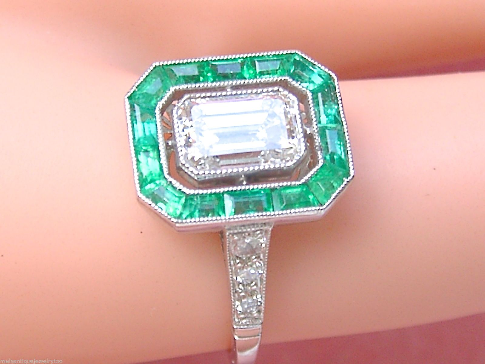 Art Deco 1.03 Ct Emerald Cut Diamond GIA 'E' Color Emerald Halo Engagement Ring