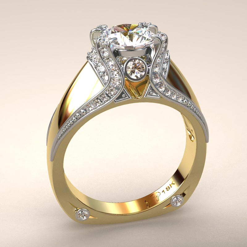 Italian Top Ladies Diamond and 18k Ring
