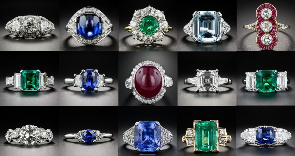 Exquisite Gemstone Diamond Rings. These gorgeous gemstone diamond rings are stunning vintage estate jewelry pieces. One of a kind jewelry masterpieces.