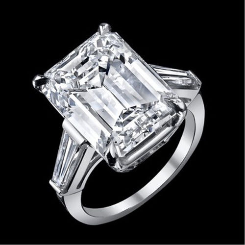 12.22 ct GIA J VS1 emerald cut baguette diamond engagement 3 stone ring platinum