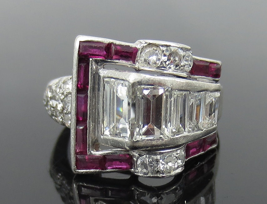 Art Deco 1.0ct Diamond & 0.75ct Baguette Ruby Platinum Buckle Ring