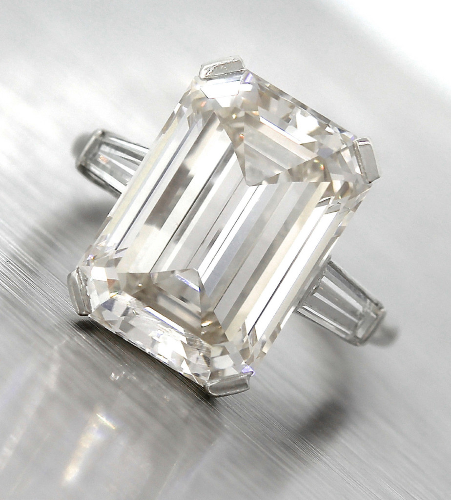 Lavish Platinum 10.80ct K VS1 Emerald Cut Diamond Baguette Engagement Ring EGL