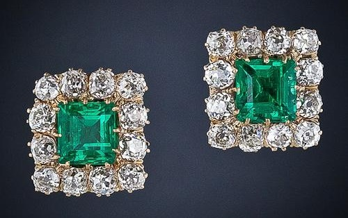Superb Victorian Emerald and Diamond Cluster Clip Earrings