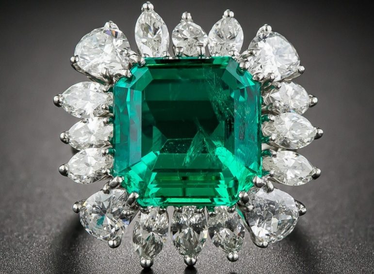 9.06 Carat Emerald and Diamond Ring - AGL Certified