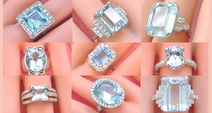 Gorgeous Vintage Aquamarine and Diamond Estate Rings