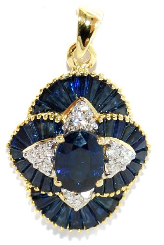 18K Yellow Gold Blue Sapphire Natural Diamond Pendant