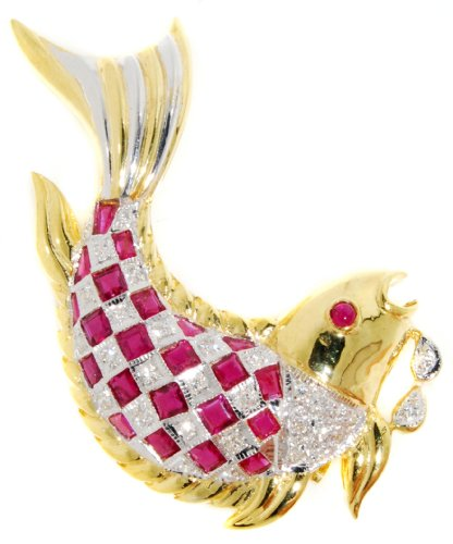 Genuine Ruby Fish Brooch/Pin Gemstone 18K Yellow Gold Diamond
