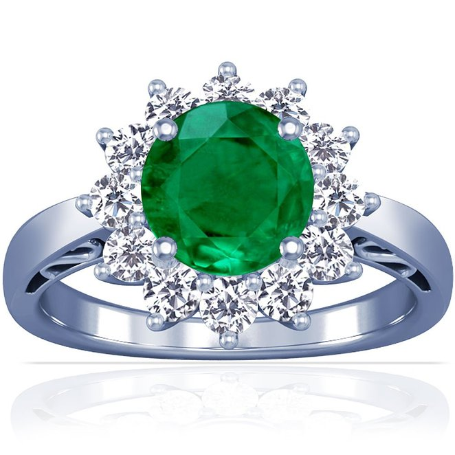 14K White Gold Round Cut Emerald Ring With Sidestones