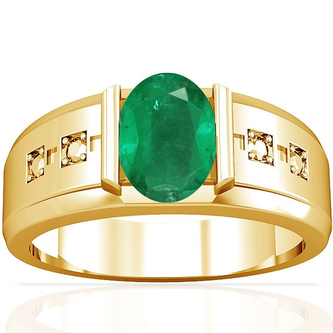 14K Yellow Gold Oval Cut Emerald Solitaire Ring