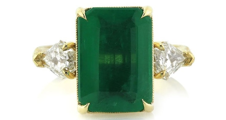 A Gorgeous 6.35ct Emerald and Diamond Three-Stone Ring