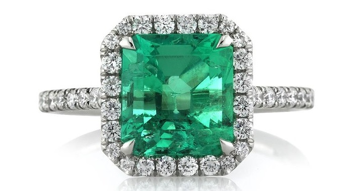 Gorgeous 2.84ct Emerald and Diamond Engagement Ring