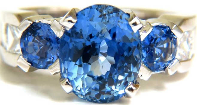 GIA NO HEAT 7.30CT NATURAL SAPPHIRE DIAMOND RING UNHEATED CORNFLOWER A+