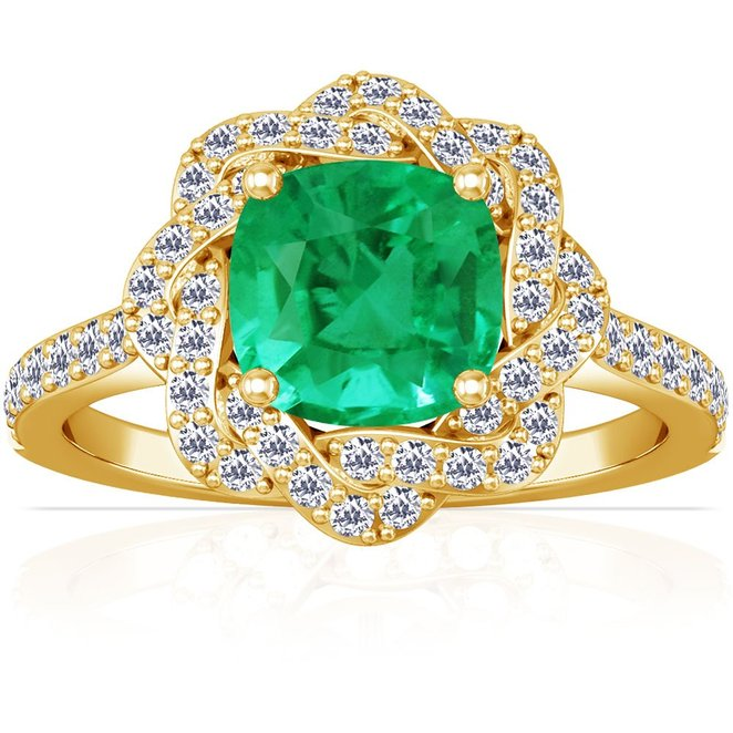 18K Yellow Gold Cushion Cut Emerald Ring With Sidestones