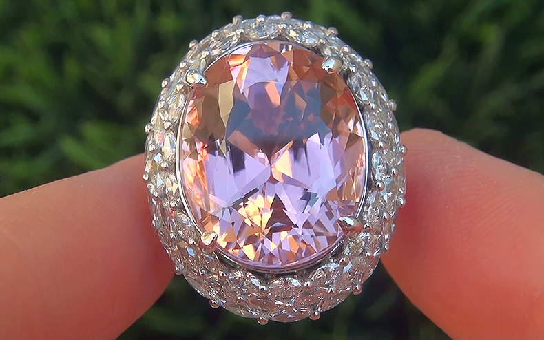 GIA Estate 20.11 ct Flawless Pink Tourmaline Diamond 14k White Gold Vintage Ring