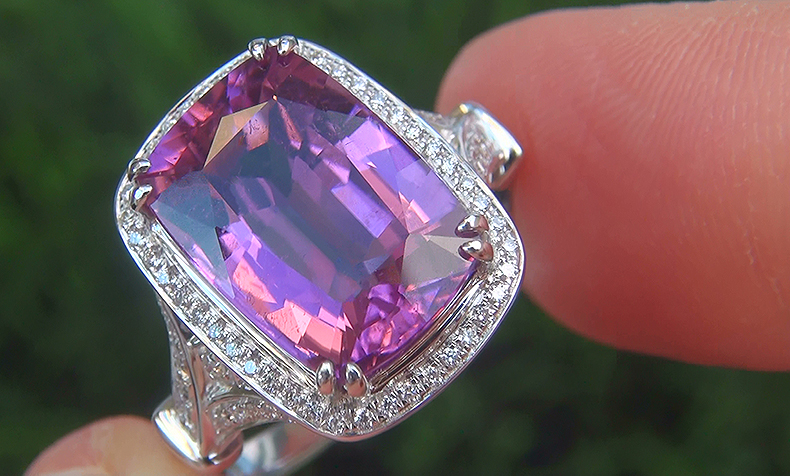 GIA 6.67 ct UNHEATED VS1 Pink Tourmaline Diamond 18k White Gold Vintage Ring