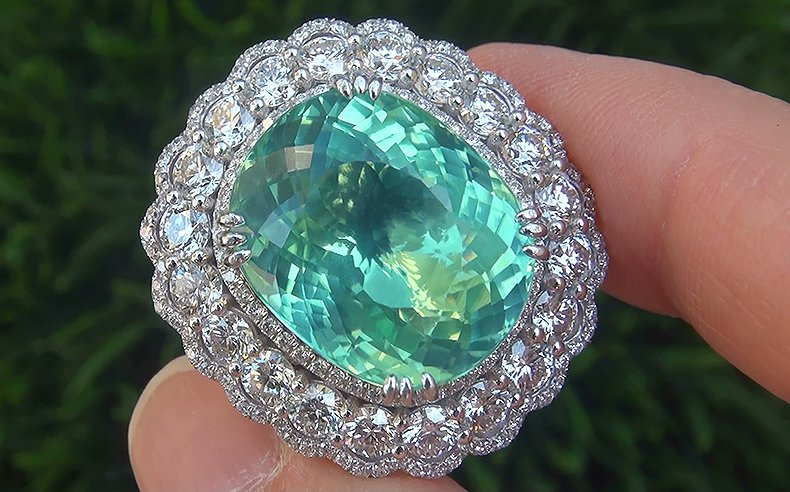 GIA 25.64 ct VVS1 Natural Paraiba Tourmaline Diamond PLATINUM Estate Ring