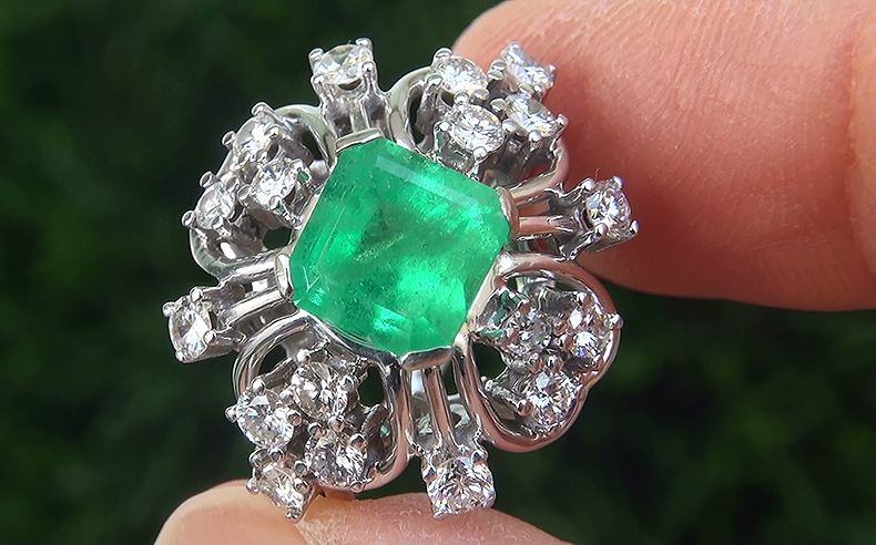 Estate 2.85 ct Natural Colombian Emerald Diamond 18k White Gold Ring