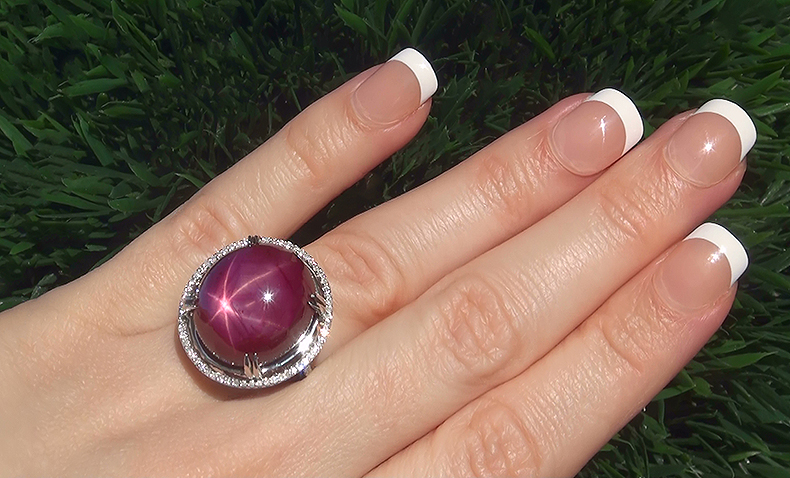 This is a stunning on hand view in direct sunlight that shows the amazing six star asterism of the gorgeous star ruby.