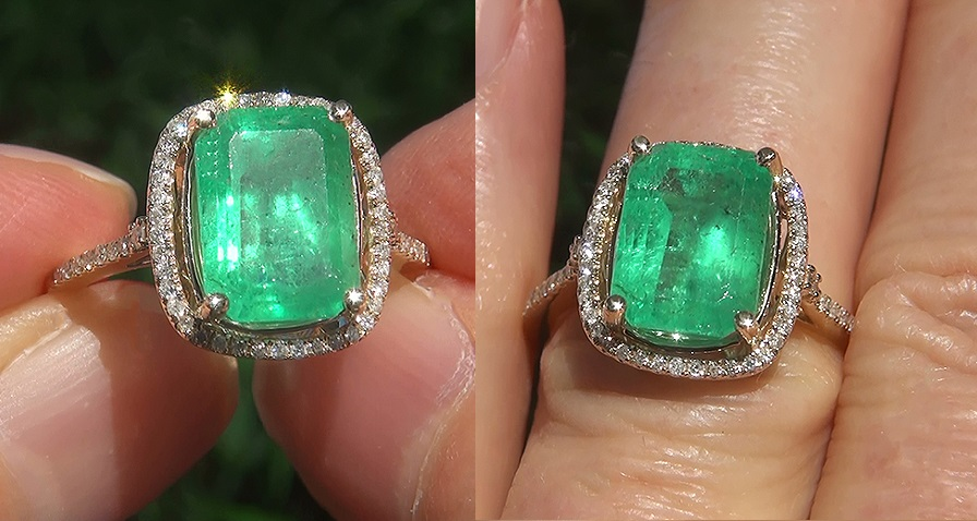 Estate 4.03 ct Natural Colombian Emerald Diamond 14k Yellow Gold Ring