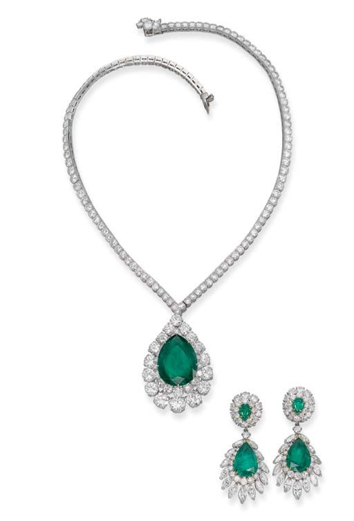 An emerald and diamond set, by Van Cleef & Arpels.