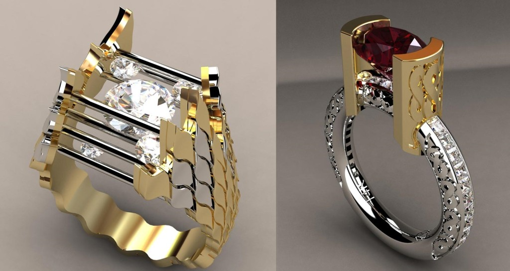 Gorgeous Designer Diamond Ring and Red Zircon Ring