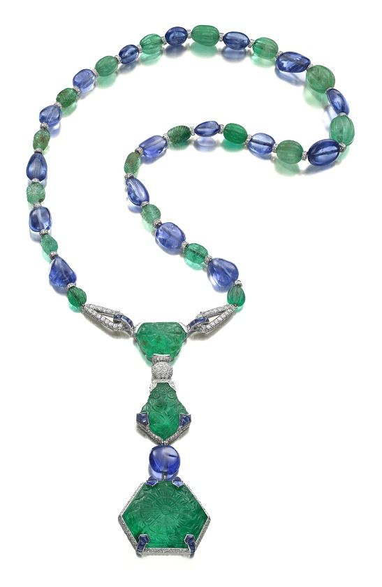 Cartier Art Deco Emerald, Sapphire, and Diamond Pendant Necklace Paris, circa 1925