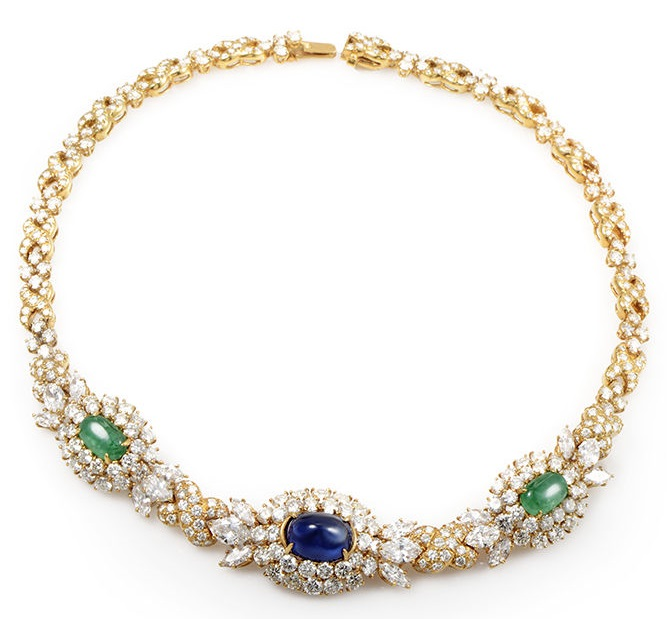 Harry Winston Diamond-Set 18K Yellow Gold Sapphire & Emerald Choker Necklace