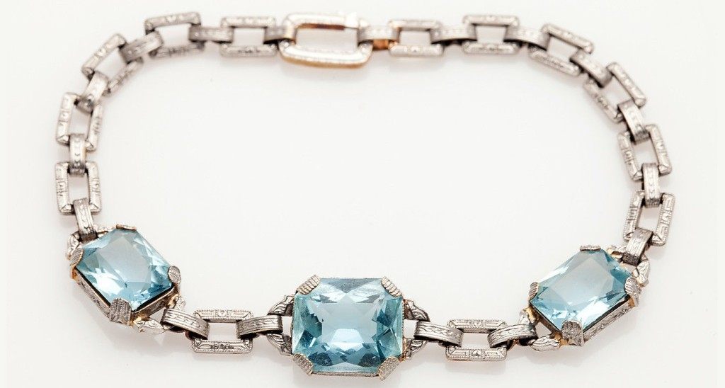 Antique 1930s 15ct Natural Aquamarine 14k Gold Platinum Bracelet