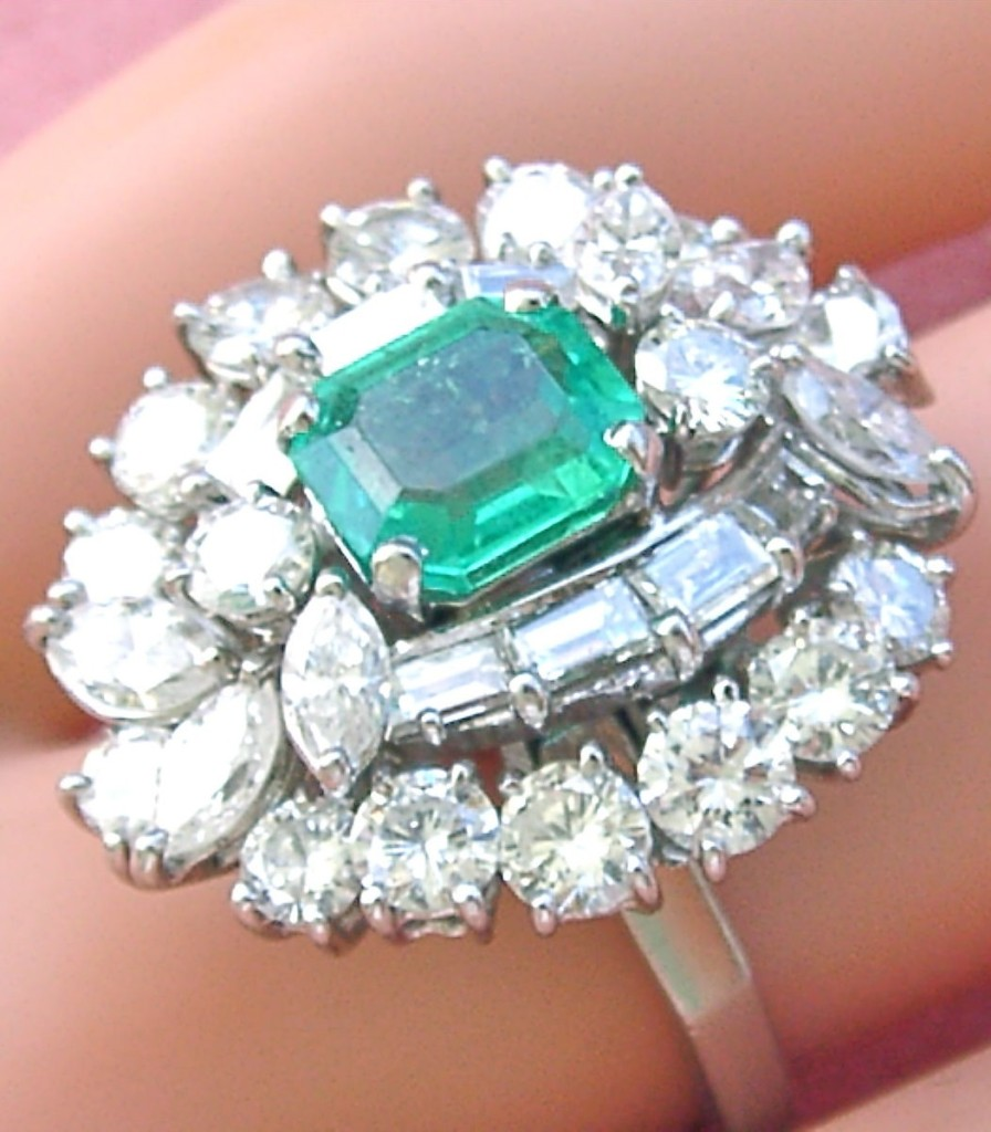 VINTAGE 3.5ctw DIAMOND 1ct EMERALD COCKTAIL RING CONVERTS TO PENDANT 1950 SIGNED